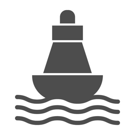 Buoy solid icon, nautical concept, Sea buoy floating on waves sign on white background, nautical direction buoy icon in glyph style for mobile concept and web design. Vector graphics.