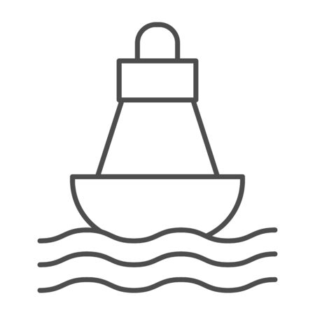 Buoy thin line icon, nautical concept, Sea buoy floating on waves sign on white background, nautical direction buoy icon in outline style for mobile concept and web design. Vector graphics. Иллюстрация