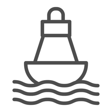Buoy line icon, nautical concept, Sea buoy floating on waves sign on white background, nautical direction buoy icon in outline style for mobile concept and web design. Vector graphics.