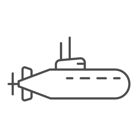 Submarine thin line icon, nautical concept, underwater boat sign on white background, Submarine with periscope icon in outline style for mobile concept and web design. Vector graphics.