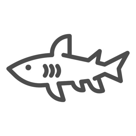 Shark line icon, marine concept, danger predatory fish sign on white background, Shark silhouette icon in outline style for mobile concept and web design. Vector graphics. Иллюстрация