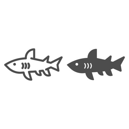 Shark line and solid icon, marine concept, danger predatory fish sign on white background, Shark silhouette icon in outline style for mobile concept and web design. Vector graphics.