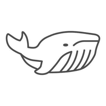 Whale thin line icon, ocean concept, very large marine mammal sign on white background, orca whale icon in outline style for mobile concept and web design. Vector graphics.