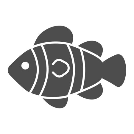 Clown fish solid icon, marine life concept, Tropical reef fish sign on white background, clownfish icon in glyph style for mobile concept and web design. Vector graphics.