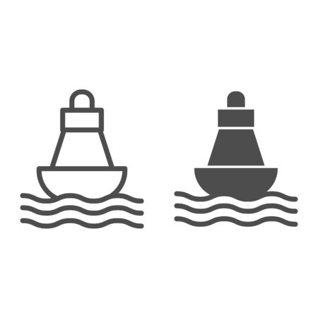 Buoy line and solid icon, nautical concept, Sea buoy floating on waves sign on white background, nautical direction buoy icon in outline style for mobile concept and web design. Vector graphics.