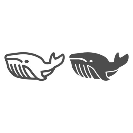 Whale line and solid icon, ocean concept, very large marine mammal sign on white background, orca whale icon in outline style for mobile concept and web design. Vector graphics.