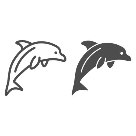 Dolphin line and solid icon, ocean concept, Dolphin sea animal sign on white background, one jumping dolphin icon in outline style for mobile concept and web design. Vector graphics.