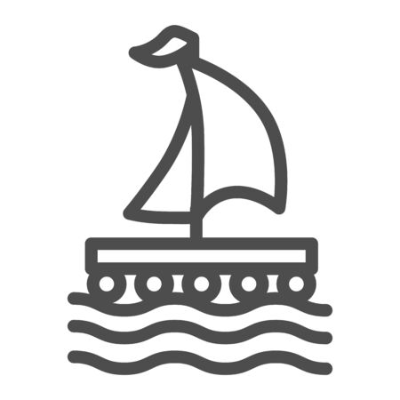 Wooden raft with sail line icon, nautical concept, Boat sign on white background, raft icon in outline style for mobile concept and web design. Vector graphics.