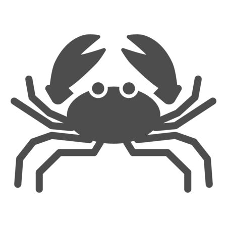 Crab solid icon, marine life concept, marine seafood sign on white background, Crab silhouette icon in glyph style for mobile concept and web design. Vector graphics.