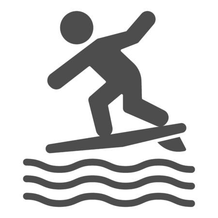 Surfing solid icon, Summer water sport concept, Surfer and waves sign on white background, Man surfing on surfboard icon in glyph style for mobile concept and web design. Vector graphics.