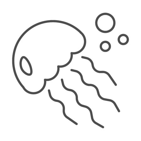 Jellyfish thin line icon, ocean concept, medusa sign on white background, sea jelly icon in outline style for mobile concept and web design. Vector graphics.