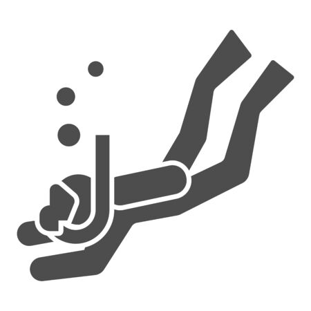 Diver solid icon, underwater sport concept, Swimming diver in deep immersion sign on white background, Scuba diving icon in glyph style for mobile concept and web design. Vector graphics.