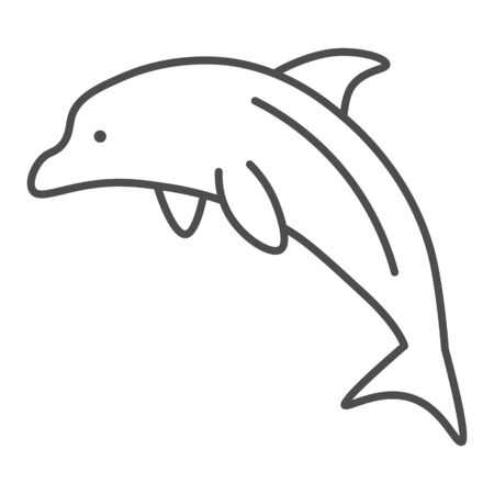 Dolphin thin line icon, ocean concept, Dolphin sea animal sign on white background, one jumping dolphin icon in outline style for mobile concept and web design. Vector graphics.