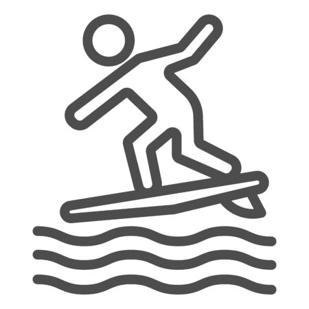 Surfing line icon, Summer water sport concept, Surfer and waves sign on white background, Man surfing on surfboard icon in outline style for mobile concept and web design. Vector graphics.
