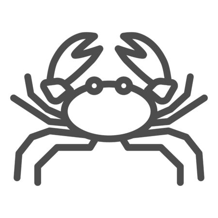 Crab line icon, marine life concept, marine seafood sign on white background, Crab silhouette icon in outline style for mobile concept and web design. Vector graphics. Иллюстрация
