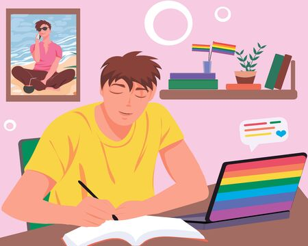 Young homosexual boy studying at home using laptop in rainbow colors. Teenager writing in notebook and LGBT flag colored laptop with love chat message. Vector illustration. LGBT pride concept.