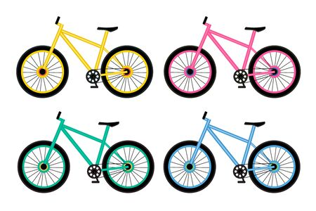 Yellow, pink, green and blue bikes on white background. Set of four bicycles. Economical and ecological city transport concept. Vector illustration