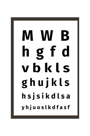 An eye chart vector illustration on white background. Ophthalmic table for visual examination. The testing Board for verification of the patient. Vision test board optometrist