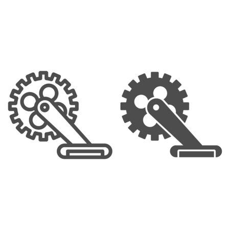 Gear with pedal line and solid icon, bicycle concept, Bicycle crank sign on white background, Bicycle pedal icon in outline style for mobile concept and web design. Vector graphics.