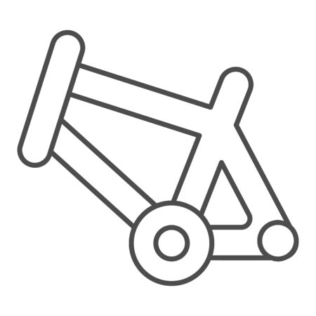Bicycle frame thin line icon, bicycle parts and accessories concept, bike frame sign on white background in outline style for mobile concept and web design. Vector graphics. Çizim