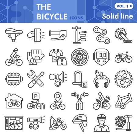 Bicycle line icon set, bike symbols collection or sketches. Bicycle parts and accessories linear style signs for web and app. Vector graphics isolated on white background Ilustração Vetorial