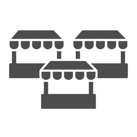 Stalls solid icon, market concept, three street shops sign on white background, Bazaar stands icon in glyph style for mobile concept and web design. Vector graphics 일러스트