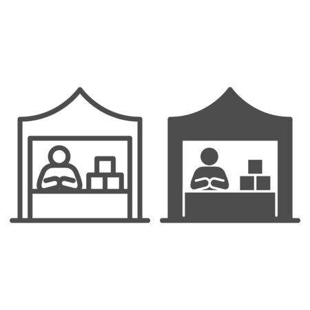 Kiosk with seller and goods line and solid icon, commerce concept, Marketplace tent with seller sign on white background, male seller at street market icon in outline style. Vector graphics