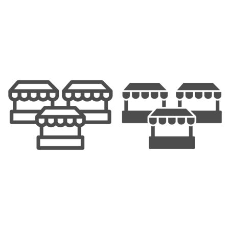 Stalls line and solid icon, market concept, three street shops sign on white background, Bazaar stands icon in outline style for mobile concept and web design. Vector graphics 일러스트