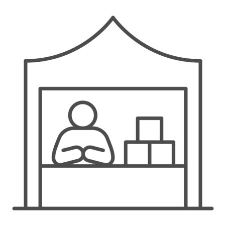 Kiosk with seller and goods thin line icon, commerce concept, Marketplace tent with seller sign on white background, male seller at street market icon in outline style. Vector graphics