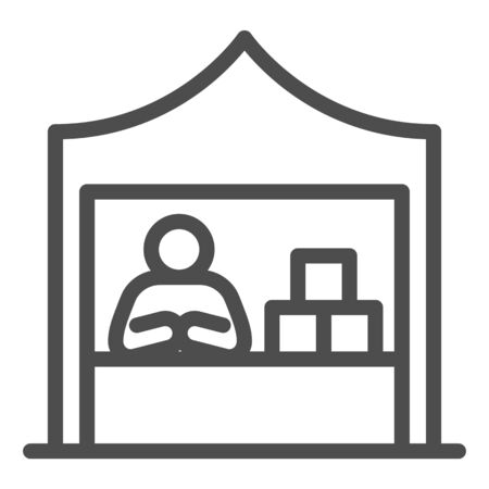 Kiosk with seller and goods line icon, commerce concept, Marketplace tent with seller sign on white background, male seller at street market icon in outline style. Vector graphics