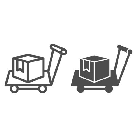 Box on warehouse trolley line and solid icon, logistic concept, hand truck with box sign on white background, Delivery trolley icon in outline style for mobile concept and web design. Vector graphics. Ilustração