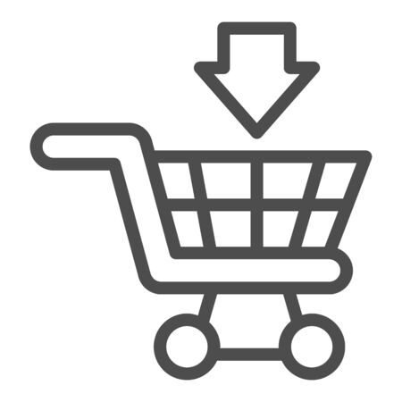 Cart for goods line icon, market concept, Shopping cart for purchases sign on white background, Supermarket trolley icon in outline style for mobile concept and web design. Vector graphics Vektoros illusztráció