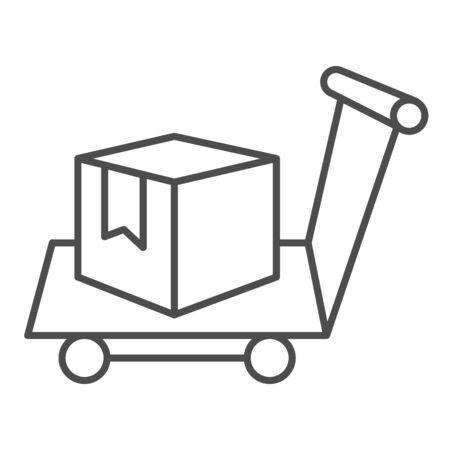 Box on warehouse trolley thin line icon, logistic concept, hand truck with box sign on white background, Delivery trolley icon in outline style for mobile concept and web design. Vector graphics.