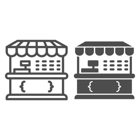 Market stall line and solid icon, Street food retail concept, Food kiosk sign on white background, Tent shop icon in outline style for mobile concept and web design. Vector graphics. Vektorgrafik