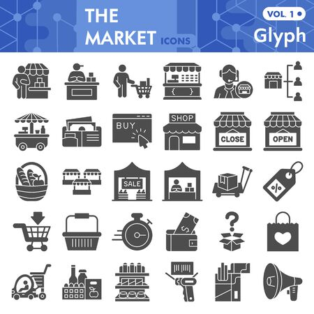 Market solid icon set, store and shop symbols collection or sketches. Shopping glyph style signs for web and app. Vector graphics isolated on white background.