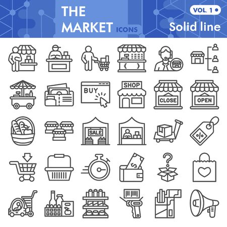Market line icon set, store and shop symbols collection or sketches. Shopping linear style signs for web and app. Vector graphics isolated on white background.
