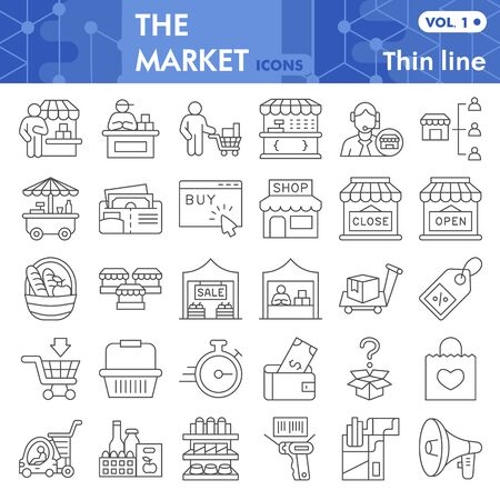 Market thin line icon set, store and shop symbols collection or sketches. Shopping linear style signs for web and app. Vector graphics isolated on white background.