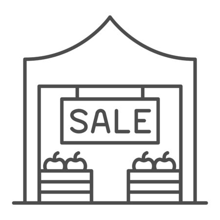 Market stall with sale text thin line icon, Street food retail concept, kiosk with fruits and vegetables sign on white background, Tent shop icon in outline style for mobile. Vector graphics. 일러스트