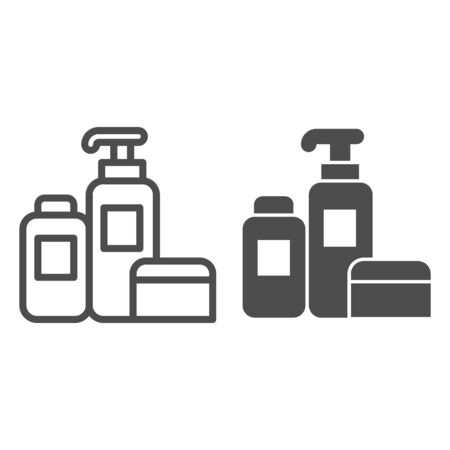 Household chemicals line and solid icon, cleaning concept, house cleaning tools sign on white background, Detergent and disinfectant products in bottles icon in outline style. Vector graphics.