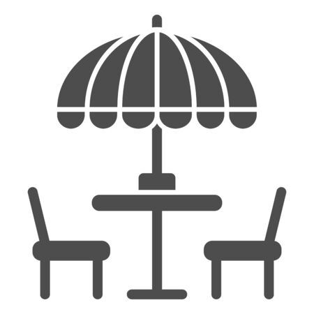 Chairs and table with umbrella solid icon, Street food concept, Outdoor table with umbrella sign on white background, outside cafe symbol in glyph style for mobile and web. Vector graphics. Vecteurs