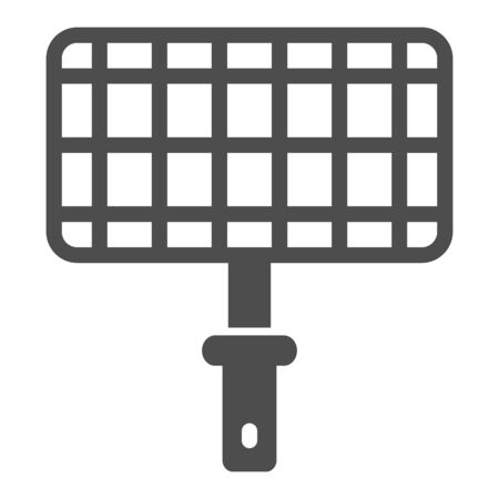 Grill steel grid solid icon, picnic concept, Barbecue grille for grilling sign on white background, Lattice for cooking on the fire icon in glyph style for mobile and web. Vector graphics.