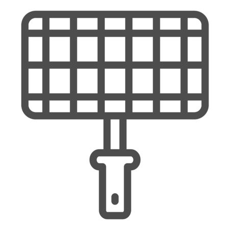 Grill steel grid line icon, picnic concept, Barbecue grille for grilling sign on white background, Lattice for cooking on the fire icon in outline style for mobile and web. Vector graphics.