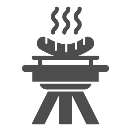 BBQ and grilled sausages solid icon, picnic concept, barbecue with hot sausages sign on white background, bbq grill icon in glyph style for mobile concept and web design. Vector graphics.  イラスト・ベクター素材