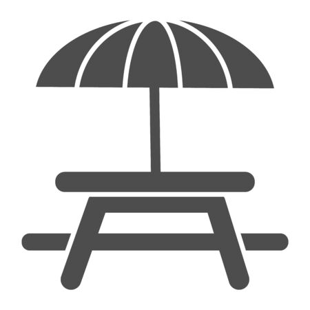 Outdoor table with umbrella solid icon, picnic concept, Camping Table sign on white background, Table and chair outside icon in glyph style for mobile concept, web design. Vector graphics.