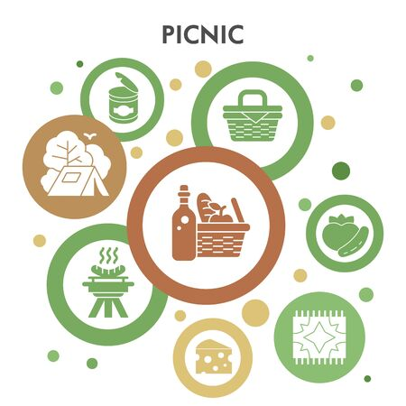 Modern picnic Infographic design template. Barbecue Infographic visualization bubble design on white background. Camping template for presentation. Creative vector illustration for infographic.