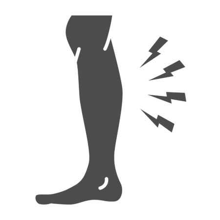 Shin hurts solid icon, Body pain concept, Shin pain sign on white background, leg injured in shin area icon in glyph style for mobile concept and web design. Vector graphics