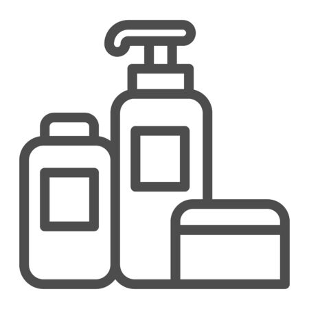 Household chemicals line icon, cleaning concept, house cleaning tools sign on white background, Detergent and disinfectant products in bottles icon in outline style. Vector graphics