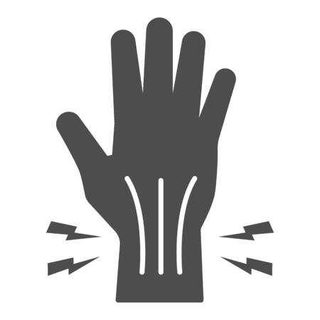 Pain in hand solid icon, Body pain concept, injury in hand joint sign on white background, Human hand and wrist pain caused by arthritis icon in glyph style for mobile. Vector graphics Ilustracja