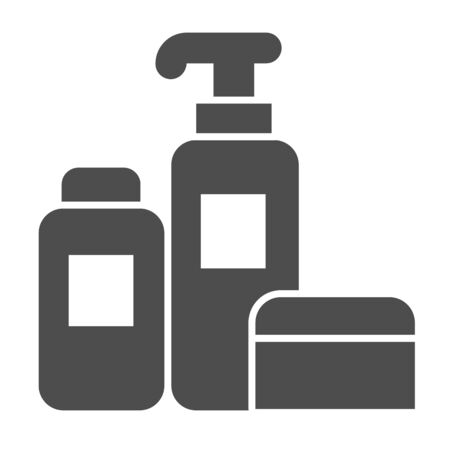 Household chemicals solid icon, cleaning concept, house cleaning tools sign on white background, Detergent and disinfectant products in bottles icon in glyph style. Vector graphics Stock Illustratie