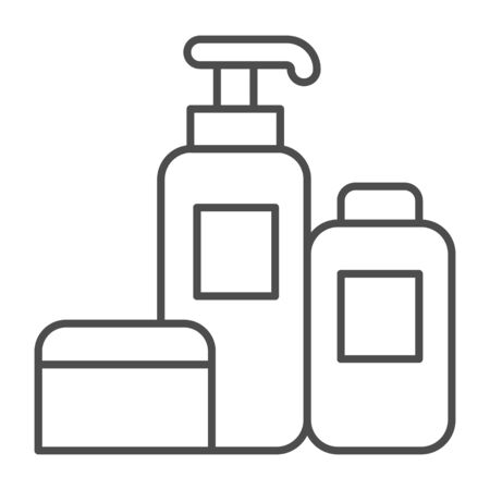 Household chemicals thin line icon, cleaning concept, house cleaning tools sign on white background, Detergent and disinfectant products in bottles icon in outline style. Vector graphics Stock Illustratie